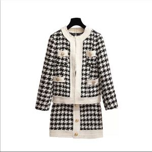 New-Houndstooth Two Piece Jacket &Skirt